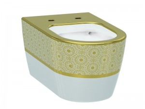 Чаша подвесного унитаза IDEVIT Alfa Iderimless (3104-2616-1101) белый/декор золото