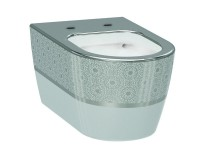 Чаша подвесного унитаза IDEVIT Alfa Iderimless (3104-2616-1201) белый/декор серебро
