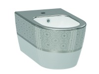 Биде подвесное IDEVIT Alfa (3106-2605-1201) белый/декор серебро