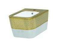 Биде подвесное IDEVIT Halley (3206-2605-1101) белый/декор золото