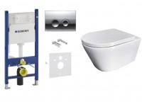Инсталляция GEBERIT Duofix 458.126.00.1 + клавиша 115.125.21.1 + Simple Bend Чаша подвесного унитаза Whirpool с сиденьем 37822805 ASIGNATURA