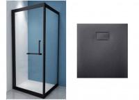 Душевая кабина ASIGNATURA Tinto (49020702)+Душевой поддон 90*90 ASIGNATURA (49837002) черный матовый