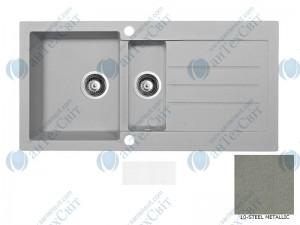 Гранитная мойка MARMORIN Tellur 380513010 steel metalic