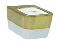 Чаша подвесного унитаза IDEVIT Halley Iderimless (3204-2616-1101) белый/декор золото